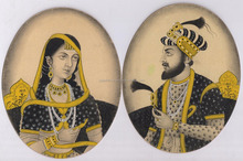 Ethnic Mughal King & Queen Painting Portrait Water Color Paper Painting Miniature Art