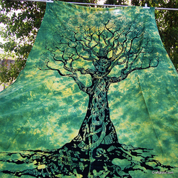 Home Decor Indian Hippie Bohemian Green Tree Wall Tapestry Dorm Bedding Twin Bedspreads Gypsy Tie Dyed Wall Hanging