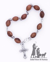 Bethlehem Olive Wood Factory BRAcelet With Silver Chain And Cross Hand Made - BRA030 ZULUF