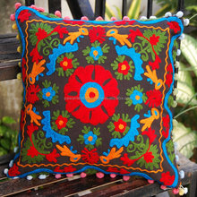 Online sale Indian Suzani Cushion Cover/Boho Style Embroidery Pom Pom Lace Cushions Throw Pillow