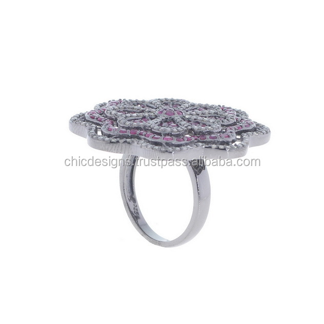 Floral Jewelry Form India Jaipur Ruby Silver Pave Diamond Ring