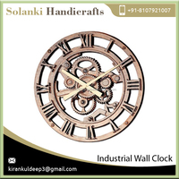 Round Skeleton Style Big Gear Mechanical Type Industrial Wall Clock for Sale