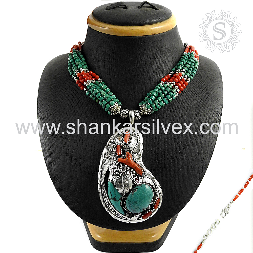 Latest Fashion Of Coral & Turquoise 925 Sterling Silver Necklace Gemstone Silver Jewelry Wholesale