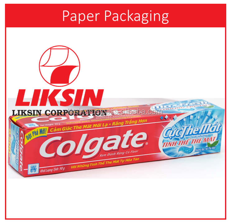 HIGH END quality Advanced toothpaste tube paper packaging box for Colgate brand