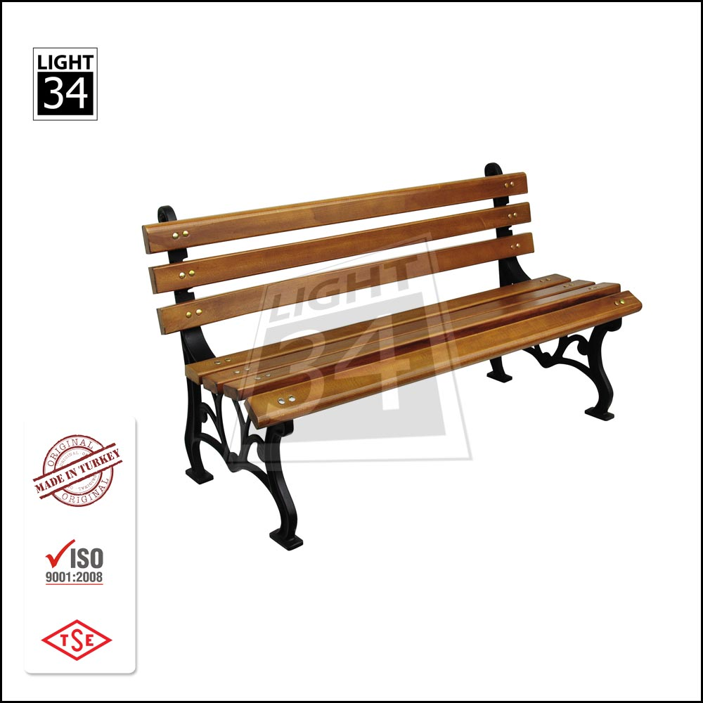 Outdoor Patio Garden Park Metal Frame Wooden Bench
