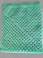 Best Handmade vintage Traditional Popular Green colour Rectangular crochet baby blanket boy or girl in aqua green. Ready to sale