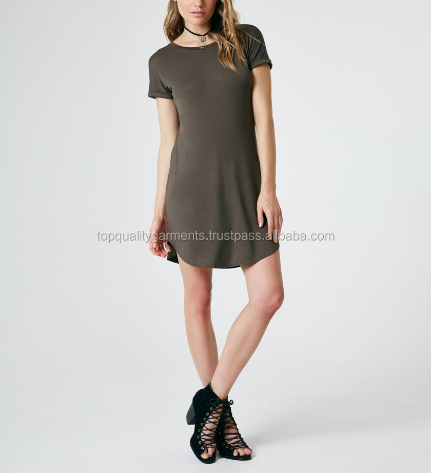 High End Quality Keyhole T-Shirt Dress Back Fashion Women Girl Ladies Short Sleeve Cotton Polyester Odm Customize Print