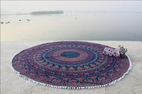 Cotton printed round beach towels with Pom Pom