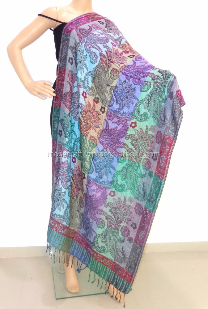 online double side dupatta - kashmiri handmade shawl - winter fashion stoles - paisley stoles for girls