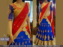 Designer Blue and Red Color Banarasi Lehengha With Thread Multy Fancy Work