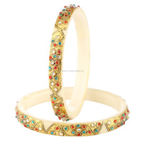 Be You Lovely Multicolor Real Gold Emboss Work Plastic Bangle for Women