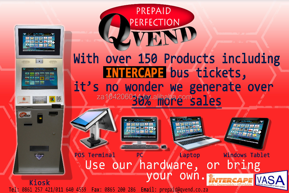 SOFTWARE TO RUN PREPAID SYSTEM - SELF SERVICE, POS,PC, LAPTOP, TABLET