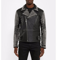 LUKE APPARELS- Men hot sale pure genuine leather luxury Motorcycle/Motorbike spikes punk studded leather jacket