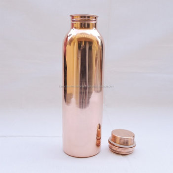 BPA FREE 100% COPPER SEAMLESS WATER DRINKING BOTTLE , TRAVELLERS SPILL PROOF WATER BOTTLE