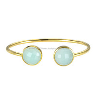 Nice looking Handmade Item Best Round Shape Aqua Chalcedony Gold plated Bangle