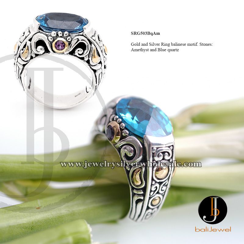 Silver and gold bali ring amethyst blue quartz balinese motif