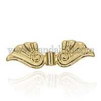 Wing Alloy Beads, Golden, Cadmium Free, Lead Free and Nickel Free, 13x44x4mm, Hole: 2mm