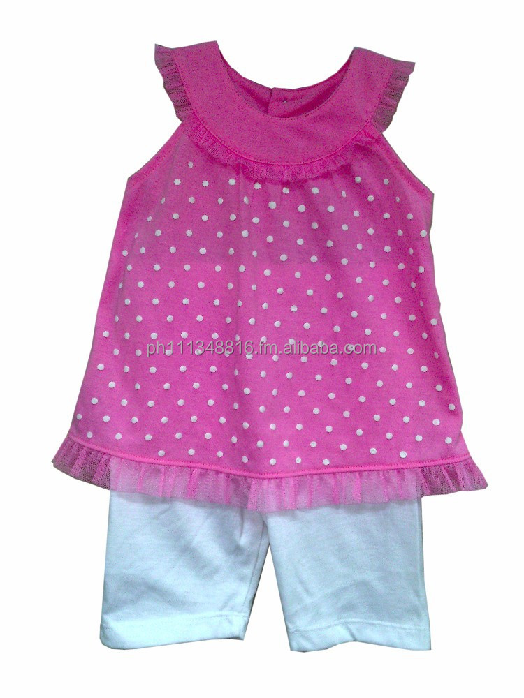 Infant Baby Girl Clothes - Girls 2pc Short Set Pink w/White Dots & Pink Lace w/White Shorts