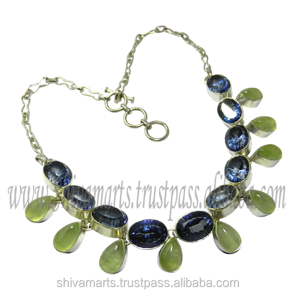 Semi precious multi gemstone wholesale jewelry 925 sterling silver iolite prehnite multi gemstone necklace