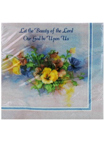 Lilac Floral Religious Themed Paper Luncheon Napkins