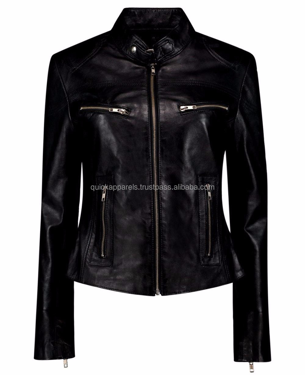 Sea View In Color Woman Women Fashion Leather Jacket
