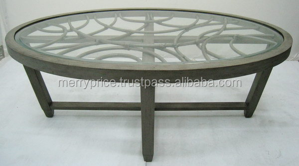 Elegant wooden tea table with glass Top Glass coffee table with glass