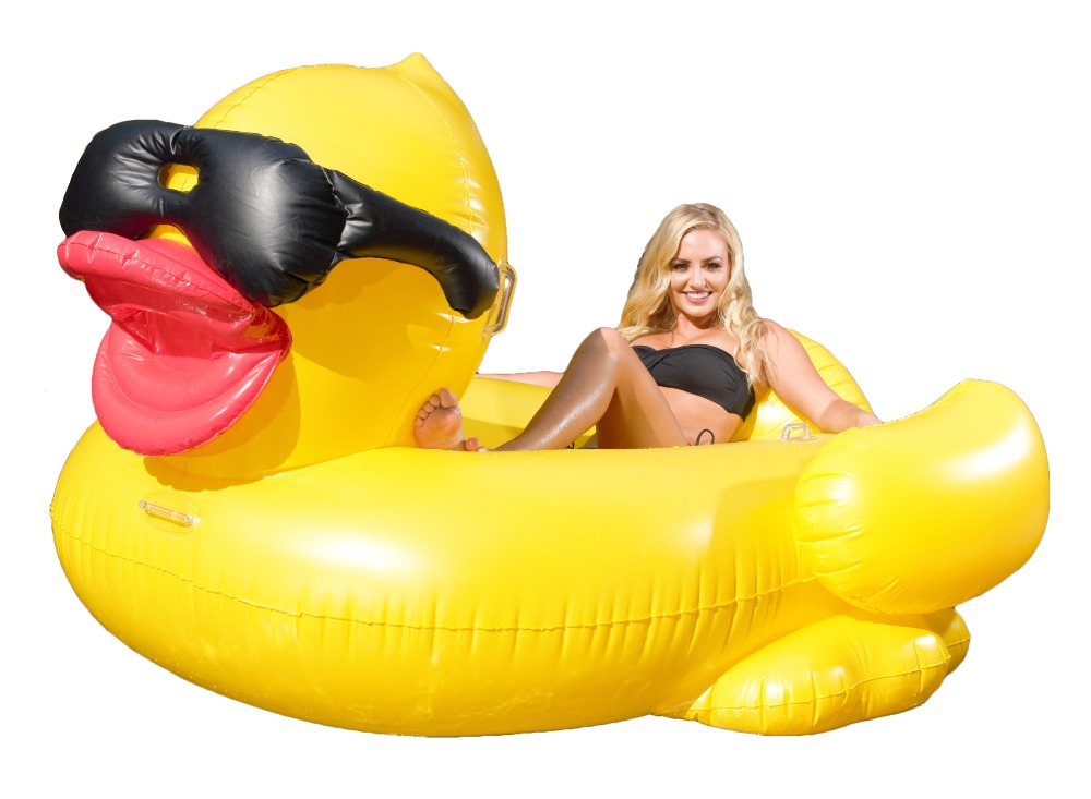 Giant Inflatable Pool Floating Riding Derby Duck w/Cup Holders and Straps (Floatie Lounge for Adults and Kids, Larger than Swan)