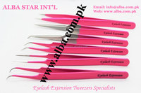 Six pieces eyelash extension training tweezers set with eyelash scissors/ get eyelash tweezers kits customized with your own bra