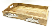 Designer Wooden Serving Tray, Natural Wood serving Tray, Mango Wood Tray
