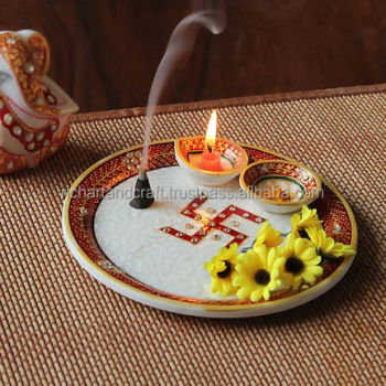 Marble Pooja Thali Plate Handicraft Religious Gift Decor Arts And Crafts Gallery