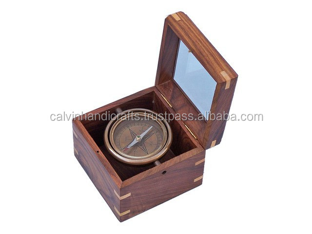 Nautical Antique Brass Lifeboat Compass with Rosewood Box CHX130207