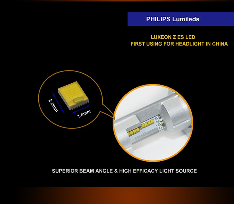 New 4800lm luxeon zes chip better than G7 model H4 h7 led headlight bulb