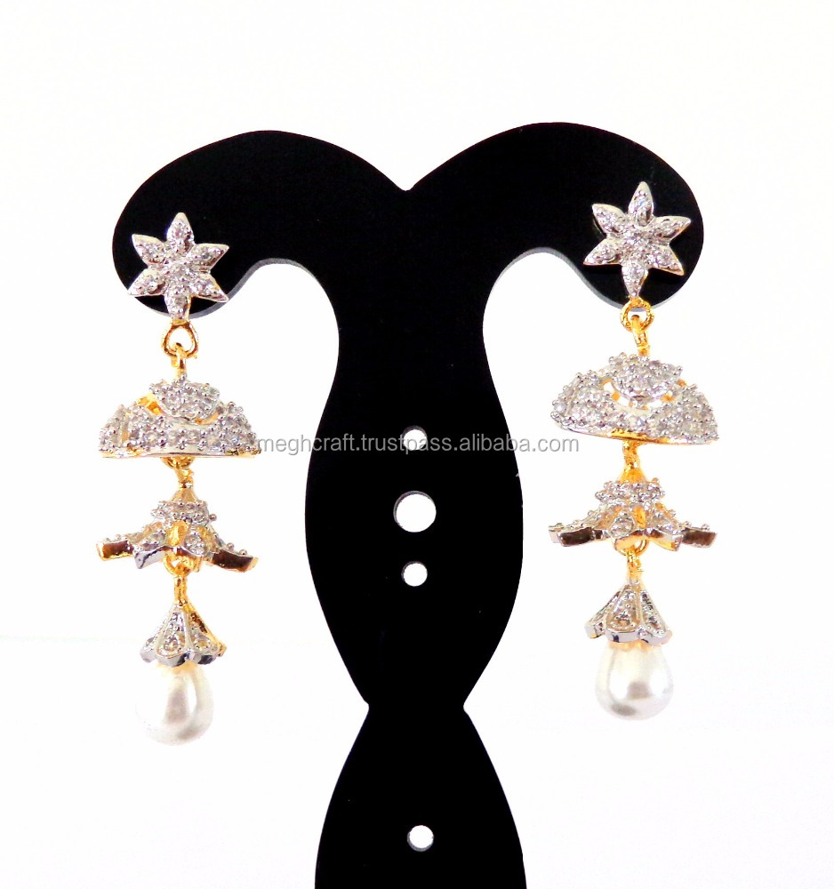Indian gold Plated long jhumka Earring-Wholesale American Diamond earring-CZ Jhumka earring-Party wear Earring
