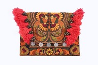 Hmong Bird Embroidered Clutch Bag with Hairs and Coins - Orange