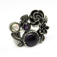 Fashionable !! Amethyst_Rainbow Moonstone 925 Sterling Silver Ring, Wholesale Silver Jewelry, Exporter And Wholesaler