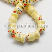 Handmade Porcelain Beads, Famille Rose Porcelain, The Chinese Zodiac Signs, Yellow, Tiger, 16~20x13~23x11~14mm PORC-S451-10