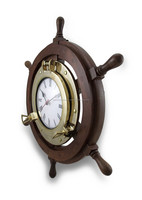 Wooden Ship Wheel Clock Brass Porthole Nautical Wall Clock 2040