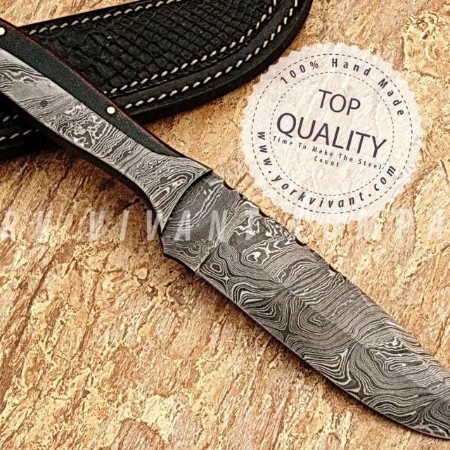 York Vivant-Custom Handmade Damascus Steel Fixed Blade Skinner/Hunting Knife YV-AB57 Full Tang + Green Micarta Handle