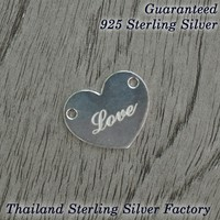 love heart tag , 925 Sterling silver pendant with laser love gift
