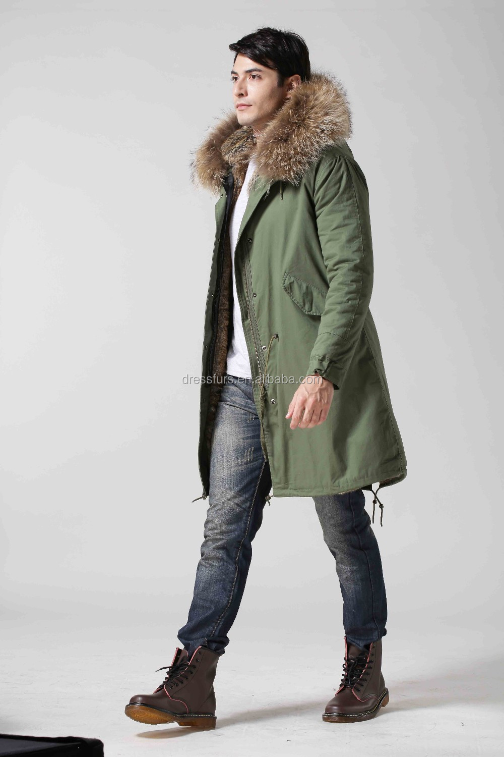 wholesale man parka coat faux fur lining raccoon fur hood trim by fast shipping