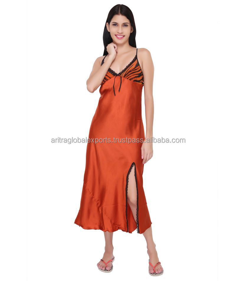 "Valentine Women""s Hot Red Satin Nighty"