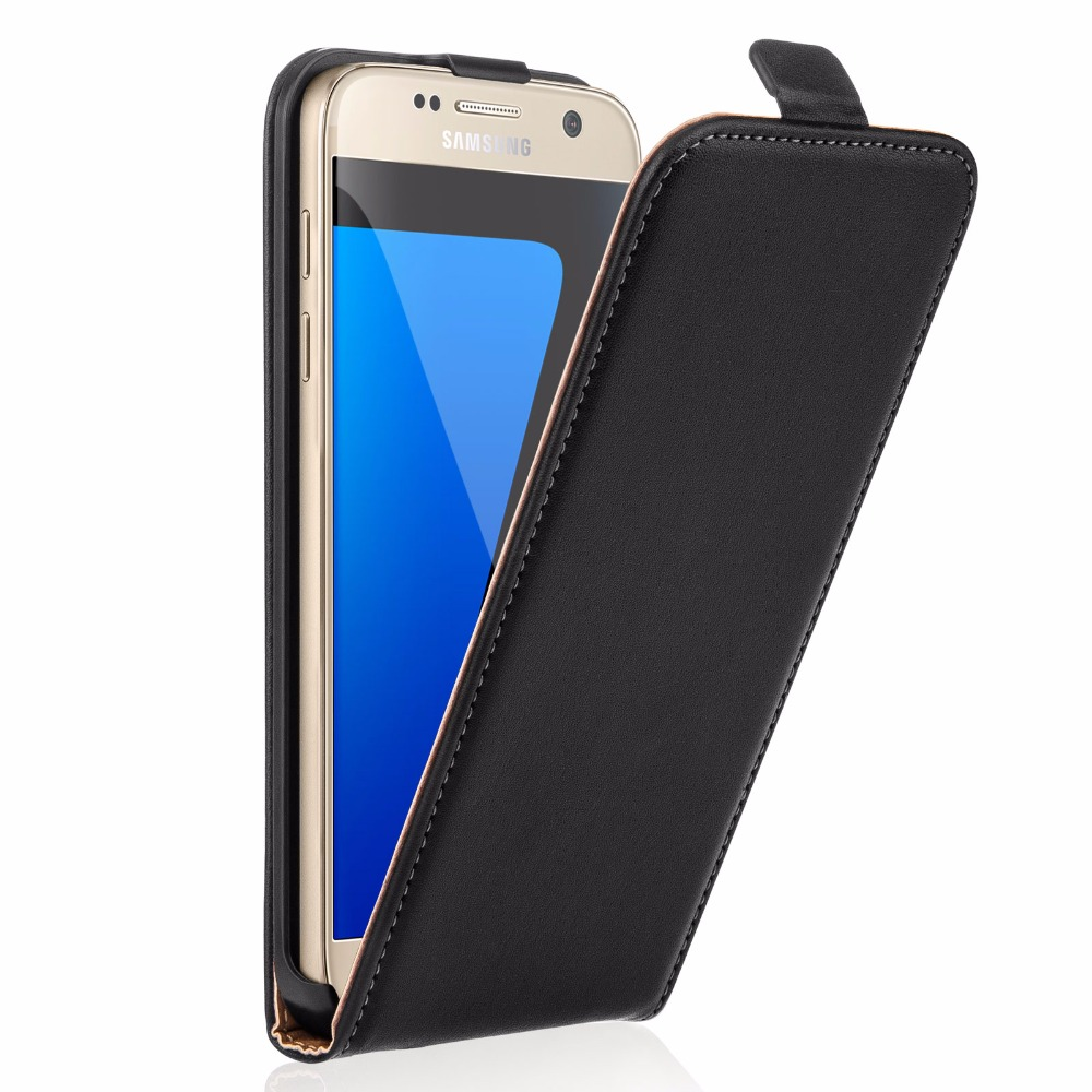 Flip Case Cover Genuine Leather for Samsung Galaxy S7 Black