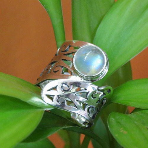 Bring The Heat !! Rainbow Moonstone 925 Sterling Silver Ring, Designer 925 Silver Rings, Sterling Silver Jewelry Manufacturer