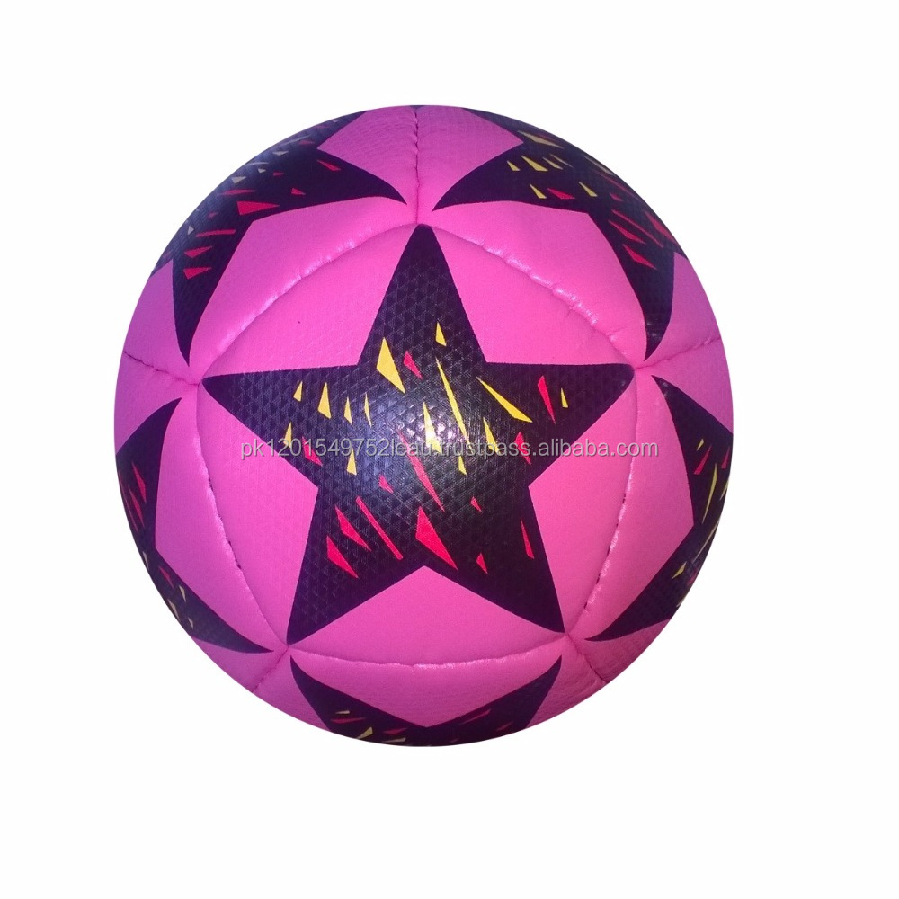 Mini Hand Stitched Tecno Football (12 panels in pink color star printed design)