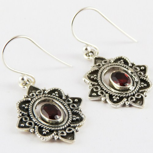 Love Princess ! Red Flower !! Garnet 925 Sterling Silver Earring, 925 Silver Earring For Wholesale, Silver Jewelry Manufacturer