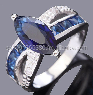 Jewelry Fashion Woman's Blue Sapphire 10KT white Gold Filled Ring