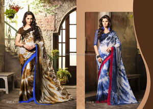 Georgette Printed ArtSilk saree With Blouse Material