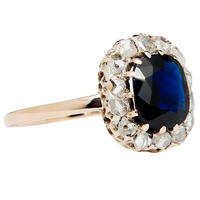 sterling silver 925 natural blue sapphire and topaz handmade rose gold ring gemstone