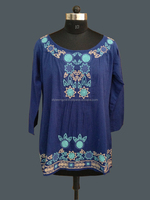 BLUE COTTON VOIL LONG SLEEVE BLOUSE WITH EMBROIDERY AT NECK AND BOTTOM