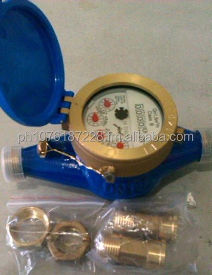 "Water Meter (Jet)- E- Brass 1/2"" with tail piece-Philippines"